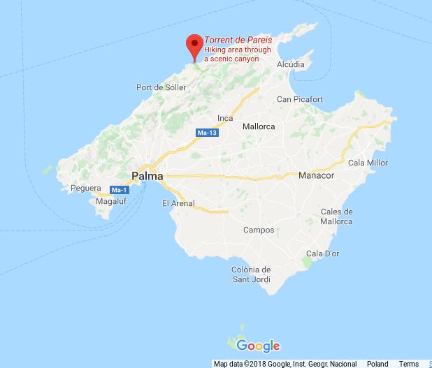 torrent de pareis_majorka_hiszpania_mapa